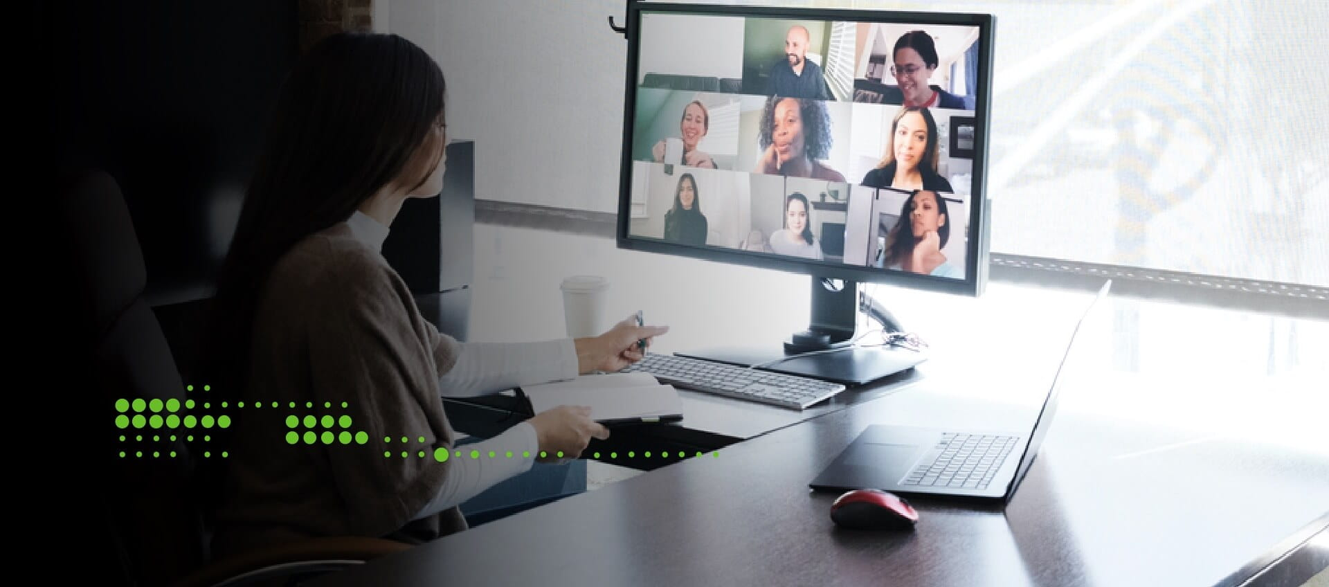 Woman on video conference with her team mates